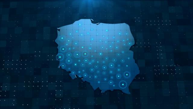 vídeos y material grabado en eventos de stock de 4k polonia mapa enlaces con detalles de fondo completos - polonia
