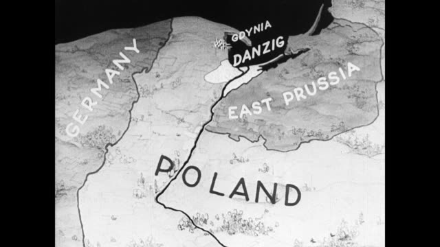 map poland map w/ gdynia danzig - 1937 stock videos and b-roll footage
