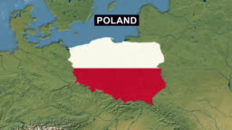 Poland Map with Polish Flag, zoom in to Poland terrain map from wide perspective view