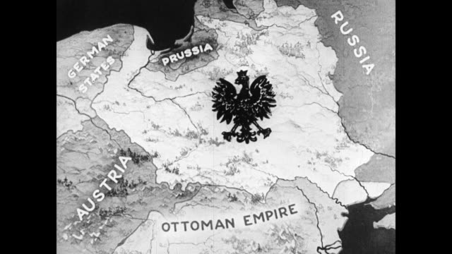 poland prussia russia ottoman empire austria. map changing to germany russia austria-hungary over poland. - impero video stock e b–roll