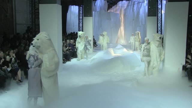 polar bears models and giambattista valli at moncler gamme rouge fashion show in paris durint aw 2013 fashion week moncler gamme rouge 2013 salute... - fashion show stock videos & royalty-free footage