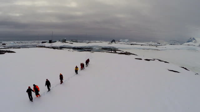 polar explorers walking through snow at vernadsky research base in antarctica - antarctica people stock videos & royalty-free footage