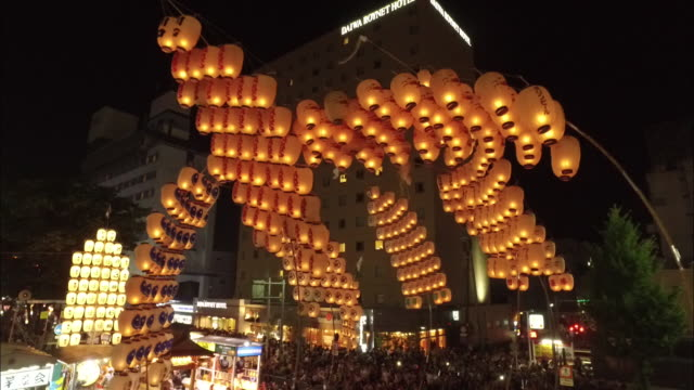 pole lantern festival in akita city - pole stock videos & royalty-free footage