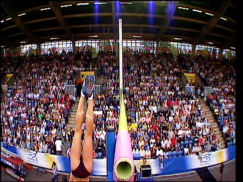 Pole vault bar camera on Yelena Isinbayeva clearing 480m 2005 Crystal Palace Athletics Grand Prix London