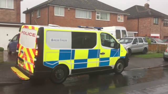 Police activity at a house in Stoke Prior Bromsgrove Worcestershire after a man was arrested on suspicion of murder after a stabbing victim was...