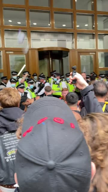 police and anti-vaccine protesters clashed in london, england, on friday, september 3, with at least four officers injured,... - https stock-videos und b-roll-filmmaterial