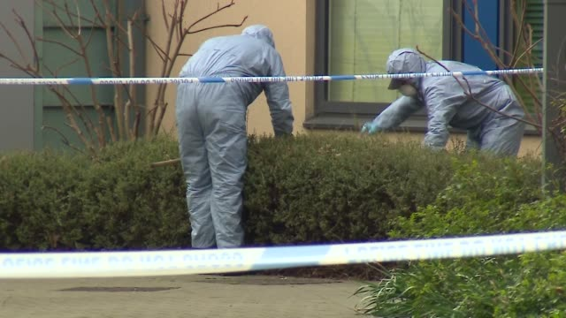 police and forensics officers in isleworth west london after a 17yearold boy was murdered in a stabbing - stechen stock-videos und b-roll-filmmaterial