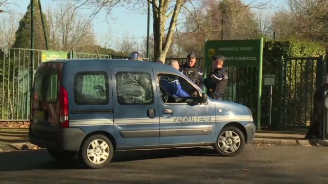 police and journalists wait outside the training ground of france's fc nantes who cancelled training after the disappearance of argentina born... - nantes stock videos & royalty-free footage
