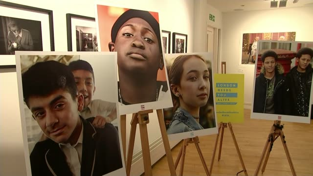 Police appeal for help following New Year knife crime deaths T15111710 / TX INT Various shots 'London Needs You Alive' exhibition