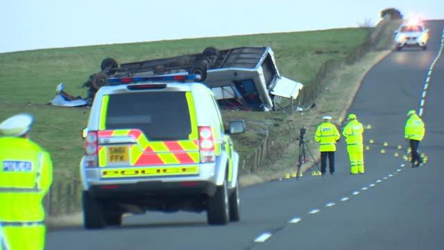 Police at scene of minibus crash at Scottish borders
