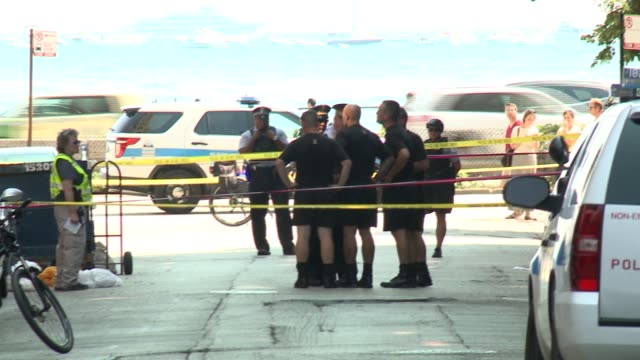 police at scene where army golden knights parachutist, sgt. 1st class corey hood, fatally fell during the chicago air & water show on august 15, 2015. - chicago air and water show stock videos & royalty-free footage