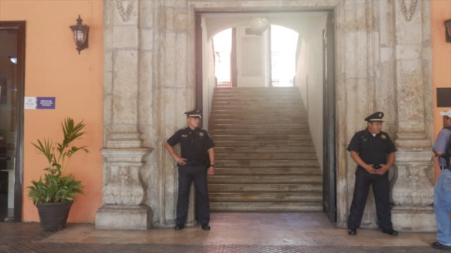 Police at the City Hall of Merida, the White City of Mexico