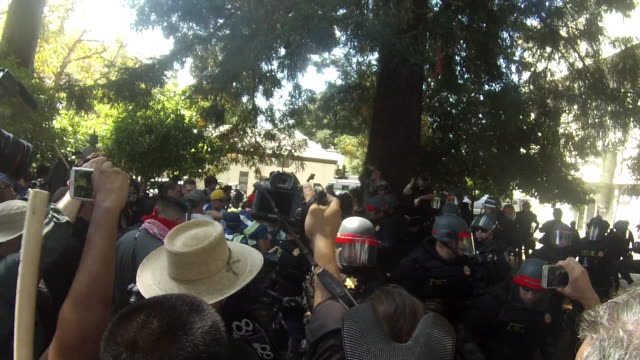 police break up a fight after a trump supporter pepper sprays antifa protesters and others who then chase him and beat him near martin luther king... - protestor stock videos & royalty-free footage