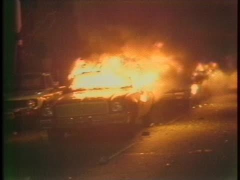 police car burns during a protest in san francisco, california. - san francisco bay area stock videos & royalty-free footage