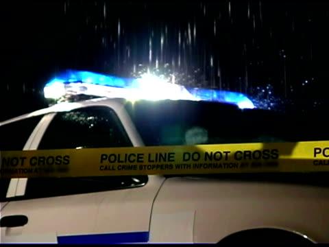 Police car flashing lights at crime scene
