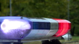 A police car is flashing. Red and blue lights and sirens.