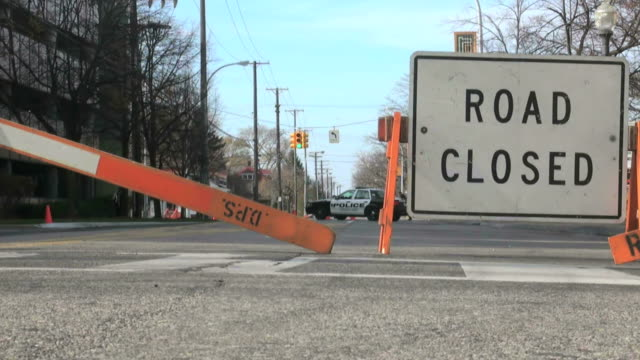 police, car, law enforcement, road, closed - road closed sign stock videos & royalty-free footage