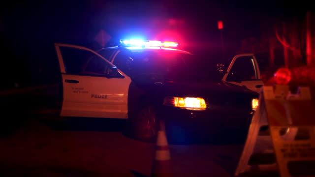 luci lampeggianti polizia auto in blocco stradale - blocco stradale video stock e b–roll