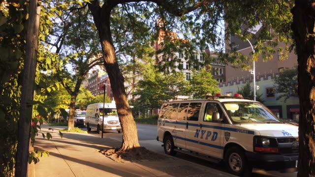 police cars parked on houston street new york city. for editorial purposes only. - editorial bildbanksvideor och videomaterial från bakom kulisserna
