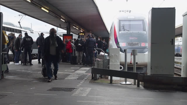 police check for passengers coming from zurich, switzerland to enforce testing requirements for the coronavirus at gare de lyon on february 1, 2021... - commercial land vehicle stock videos & royalty-free footage