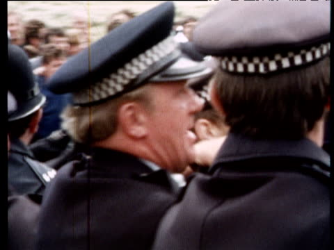 Police clash with strikers on picket lines outside unregistered wharf Lancashire 08 Aug 72