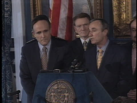police commissioner william bratton pays tribute to mayor rudy giuliani during a press conference announcing bratton's resignation. - business or economy or employment and labor or financial market or finance or agriculture stock videos & royalty-free footage