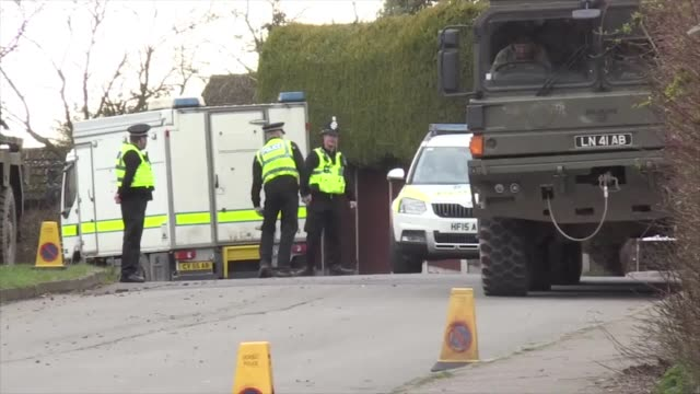 police cordoned off streets around the home of detective sergeant nick bailey who is still recovering in hospital from exposure to the nerve agent... - sergeant stock videos & royalty-free footage