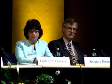 police criticised at law society meeting; itn england: london: int gv annual meeting of law society l-r female chairman and male secretary-general... - annual general meeting stock videos & royalty-free footage