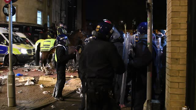 """police deal with a confrontation with protesters on march 26, 2021 in bristol, england. a similar """"kill the bill"""" protest, in opposition to the a new... - bristol england stock videos & royalty-free footage"""