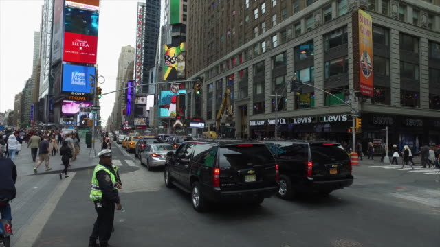 NYPD police directing traffic in Times Square, New York City