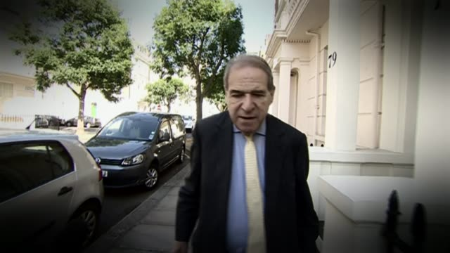 police drop 'operation midland' investigation; lib london: ext graphicised shot lord brittan out of house and along to car file / date & location... - エドワード ヒース点の映像素材/bロール