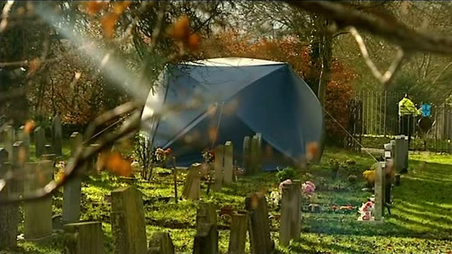 police find body in search for missing teenager jayden parkinson england oxfordshire didcot ext blue forensic tent in graveyard police officer... - didcot stock videos and b-roll footage