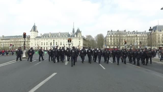 police force in front of the demonstration of yellow vests on Place Saint Michel in Paris CRS