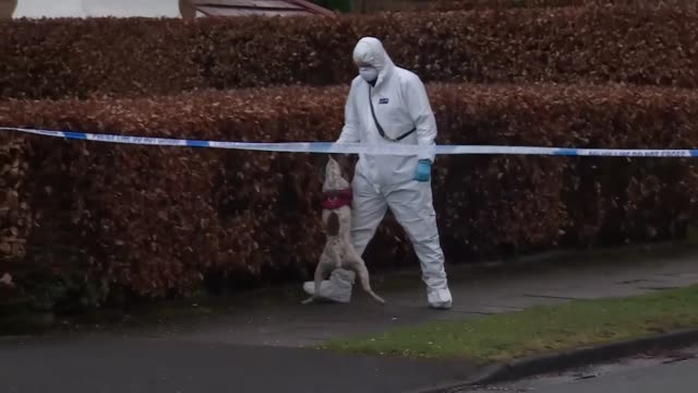police forensic officers searching for evidence in hale barns greater manchester where teenager yousef makki was fatally stabbed - knife weapon stock videos and b-roll footage