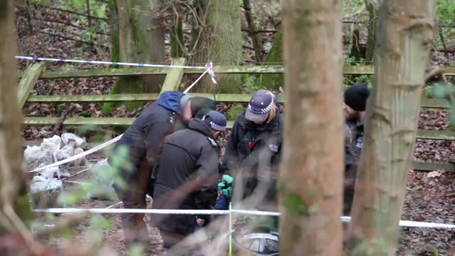 police forensics teams search ditches and woodland at a site near hedgerley lane to the north of the m40 motorway in hedgerley buckinghamshire the... - motorway junction stock videos & royalty-free footage