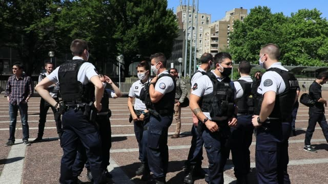 """police gather for a rally at the call of the trade union """"alliance 93"""" in front of the seine saint denis prefecture to protest against a fresco... - france stock videos & royalty-free footage"""