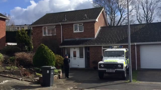 Police guard the scene at what is believed to be the home of former Russian spy Sergei Skripal on Christie Miller Road in Salisbury