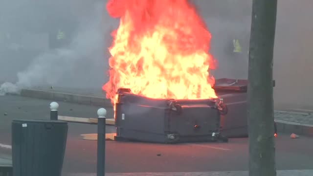 police have clashed with yellow vest protesters in rennes during the 10th consecutive demonstration organised by the popular movement - rennes stock videos & royalty-free footage