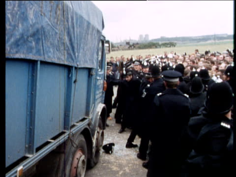 Police hold back dockers and picket lines to allow lorries access to unregistered wharf Lancashire 08 Aug 72