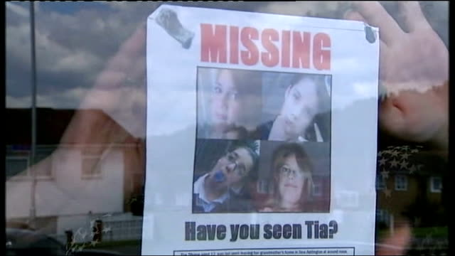 police hunt for missing girl tia sharp continues: grandmother's boyfriend denies any part in her disappearance; missing poster for tia sharp being... - poster stock videos & royalty-free footage