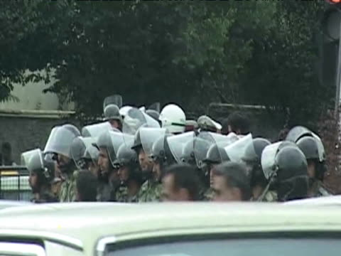 police in riot gear line up on streets of tehran following results of presidential elections 14 june 2009 - 2009 stock videos & royalty-free footage