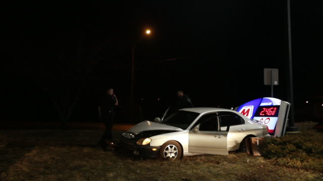 Police investigate a car accident at the Marathon Gas station located at 1307 W 3rd St before 2 am Sunday Feb 2019 in Bloomington Ind The driver of...