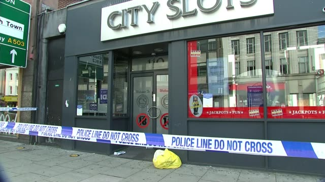police launch murder investigation after man killed on camden high street england london camden ext police tape cordon across crime scene general... - crime and murder stock videos & royalty-free footage