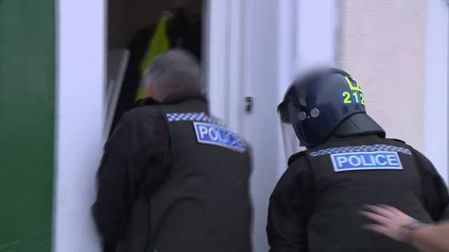 police launch raids in stockton-on-tees and sheffield to break suspected human trafficking gang; england: county durham: stockton-on-tees: ext... - sheffield stock videos & royalty-free footage