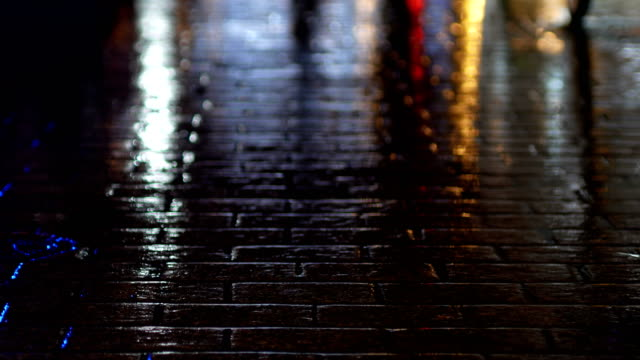 Police Lights reflected in wet sidewalk