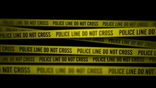 Police Line Do Not Cross In The Dark (Static Camera)