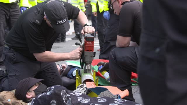police make several arrests after forcibly moving climate change activists from whitehall; whitehall, london, uk; various shots of extinction... - road stock videos & royalty-free footage