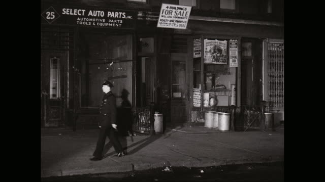 ms police man patroling city street at night / times square, midtown manhattan, new york city, new york state, united states - 1950 stock videos and b-roll footage
