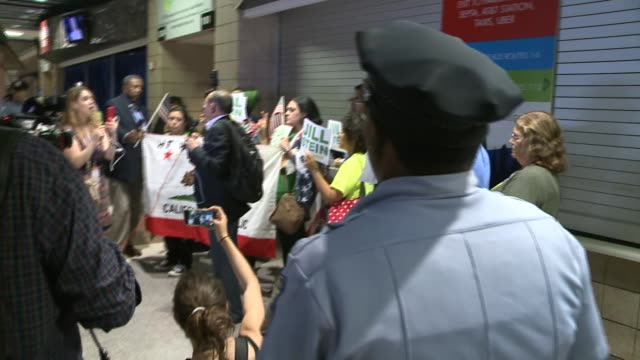 Police monitor protests inside the DNC Democratic National Convention 2016 at Wells Fargo Center on July 2016 in Philadelphia Pennsylvania