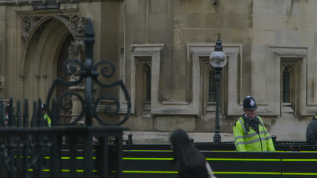 police officer outside the houses of parliament, london - politics stock videos & royalty-free footage